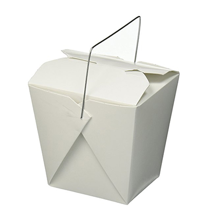 White Chinese food takeout paper box with metal handle