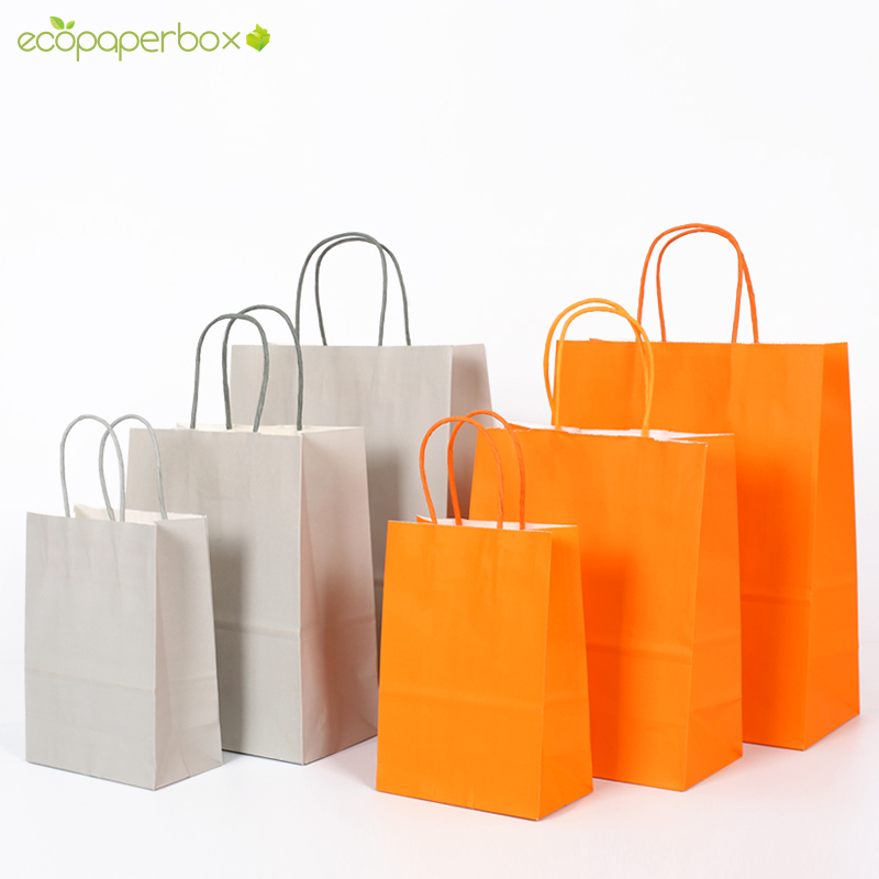 Custom Colored Brown & Orange Paper Bags with Twisted Paper Handle