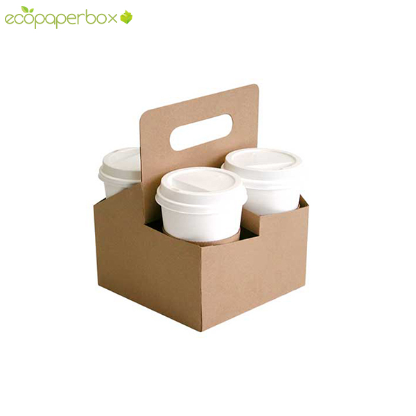 Custom 4 Cup Kraft Coffee Drink Carrier with handle