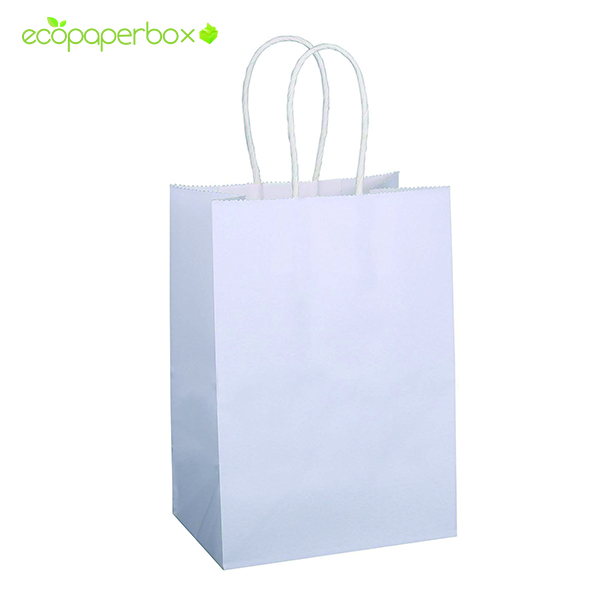Custom White Kraft Paper Bags with Handle Wholesale