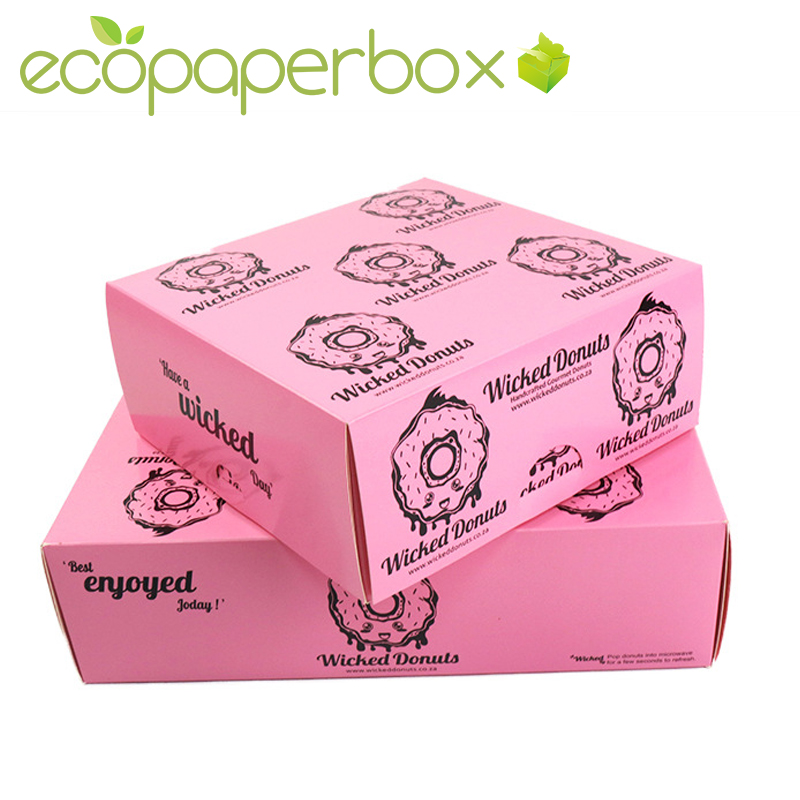 Custom donuts pink boxes doughnut boxes packaging supplier